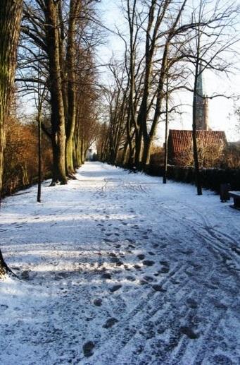 Fußabdrücke auf einem Schnee-gedeckten Fußweg