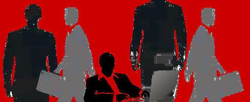 Gestresste Männer mit rotem Hintergrund
